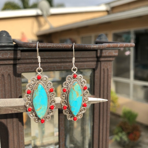 Jewelry - Turquoise Sleeping Beauty Sterling Silver Earrings